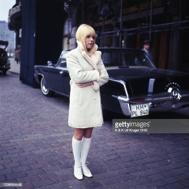 French yeye singer France Gall portrait by limousine Hamburg Germany circa 1967