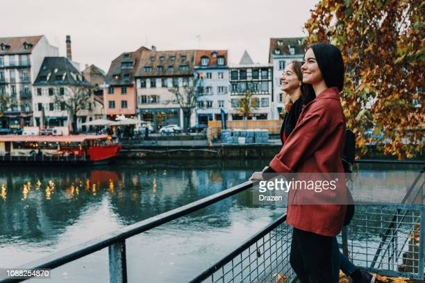 french youth on city break in strasbourg - strasbourg stock pictures, royalty-free photos & images