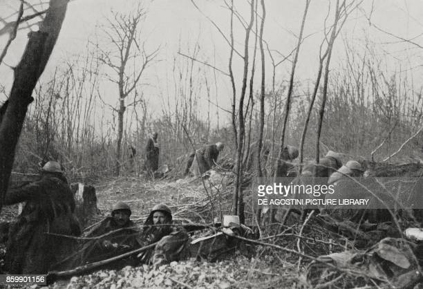 A French Zouaves company in the woods of Caures France Battle of Verdun World War I from L'Illustrazione Italiana Year XLIII No 12 March 19 1916