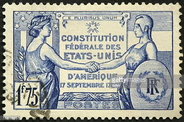 Franco-américaine sur une ancienne Timbre Amitié