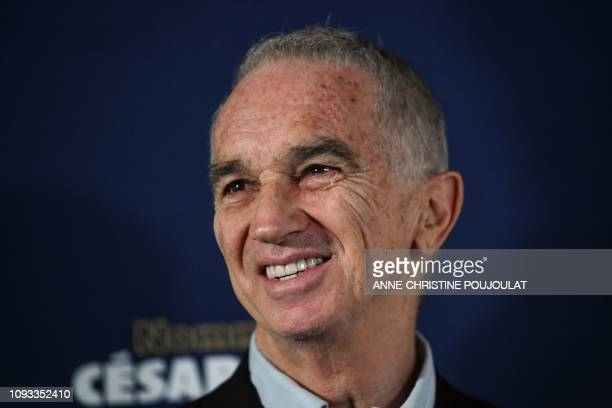 FrenchArmenian film producer and Cesar Academy president Alain Terzian poses as he arrives for the 2019 Cesar Nominees Lunch on February 3 2019 in...