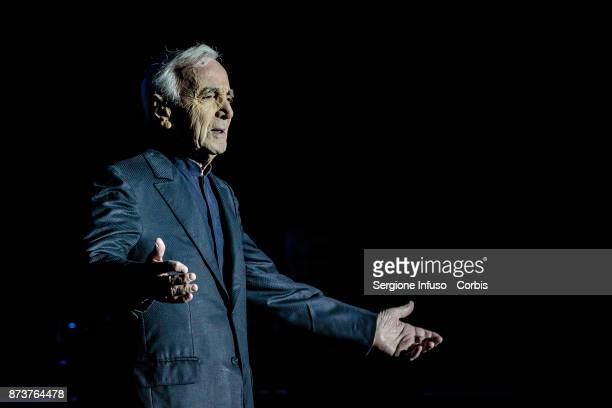 French/Armenian singersongwriter Charles Aznavour performs on stage on November 13 2017 in Milan Italy