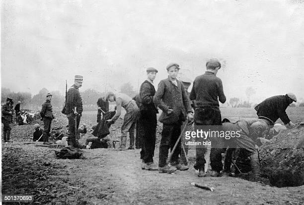 1WW french/belgian front Theatre of war Civilians dig trenches near Ypres /Flanders Sept/Oct1914