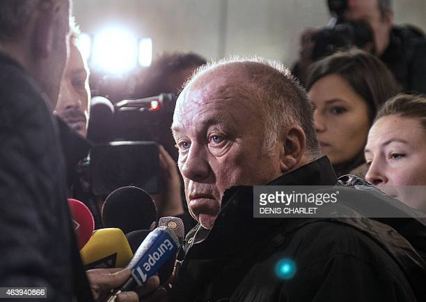 Frenchborn brothel owner and defendent Dominique Alderweireld aka 'Dodo la Saumure' speaks to the press at the courthouse of Lille northern France on...
