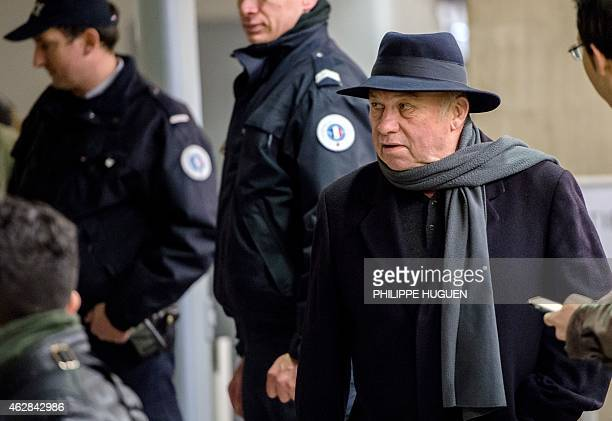 Frenchborn brothel owner Dominique Alderweireld aka 'Dodo la Saumure' arrives at the courthouse in Lille northern France on February 6 during a...