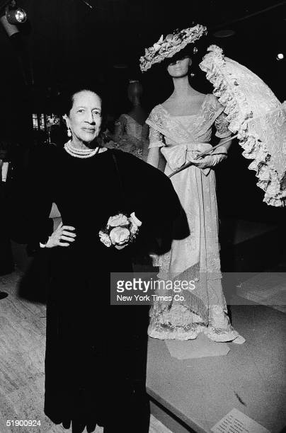 Frenchborn fashion editor Diana Vreeland in a dress designed by Mm Gress poses at the opening of an exhibiton of Hollywood costumes at the...