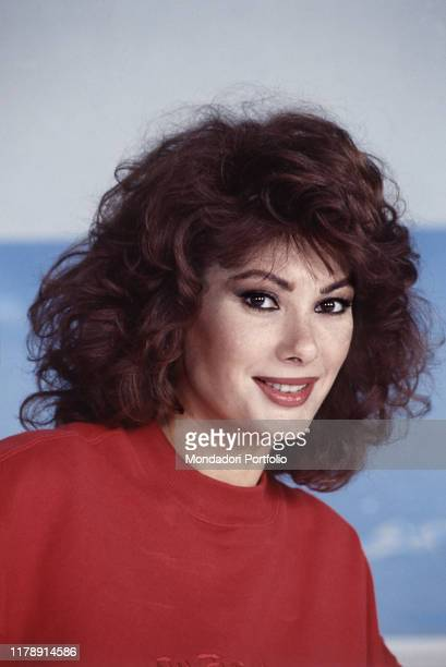 Frenchborn Italian actress and presenter of the TV show Domenica In Edwige Fenech smiling Italy 1989