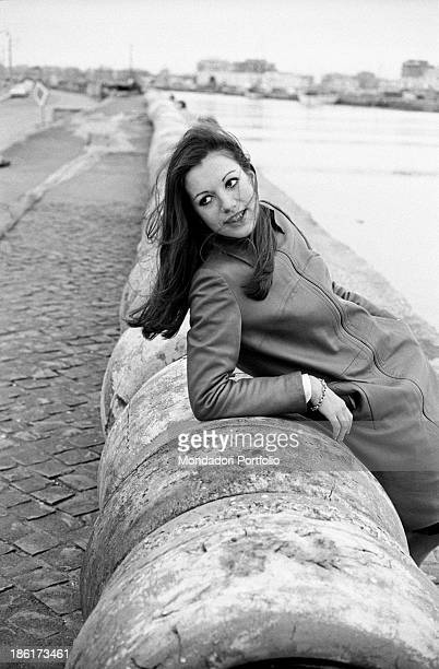Frenchborn Italian actress and singer Catherine Spaak leaning on a pier bumper 1968