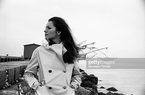 Frenchborn Italian actress and singer Catherine Spaak wearing a raincoat and keeping her hands in pockets 1968