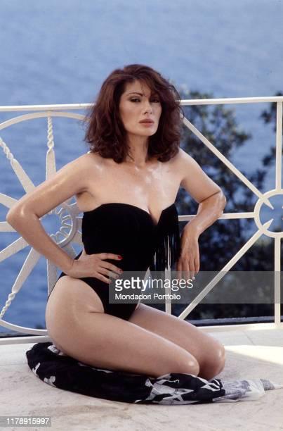 Frenchborn Italian actress Edwige Fenech in swimsuit 1989