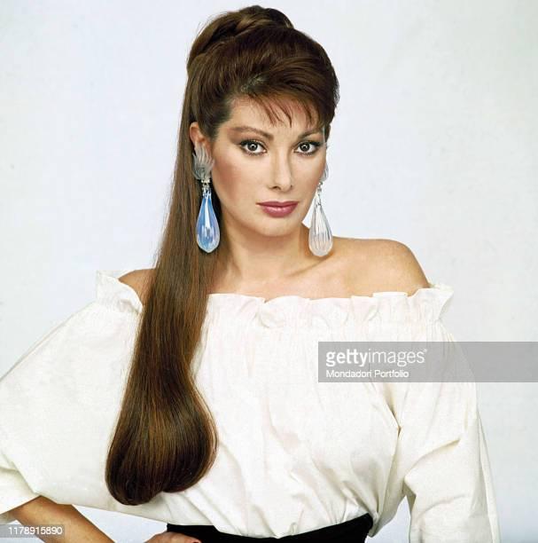Frenchborn Italian actress Edwige Fenech posing 1987
