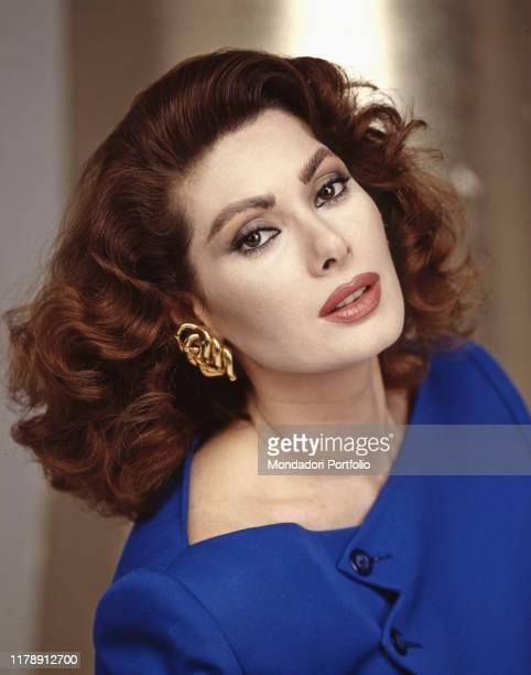 Frenchborn Italian actress Edwige Fenech posing 1990