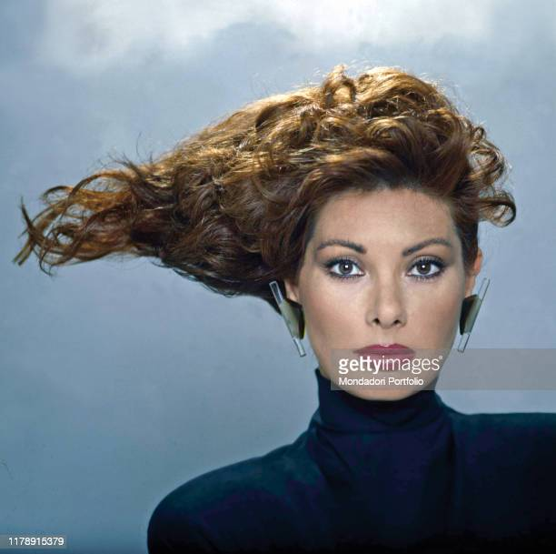 Frenchborn Italian actress Edwige Fenech with an outlandish hairstyle 1987