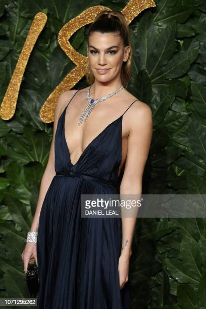 Frenchborn Italian model Bianca Brandolini D'Adda poses on the red carpet upon arrival to attend the British Fashion Awards 2018 in London on...
