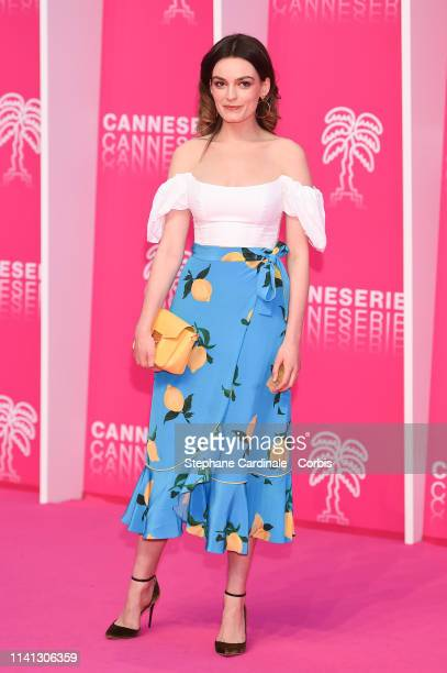 French-British actress Emma Mackey, jury member of the Cannes Series, poses on the pink carpet during the 2nd Canneseries - International Series...