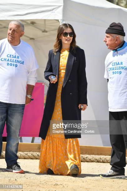 FrenchBritish actress Emma Mackey jury member of the Cannes Series plays Petanque during the 2nd Canneseries International Series Festival Day Five...