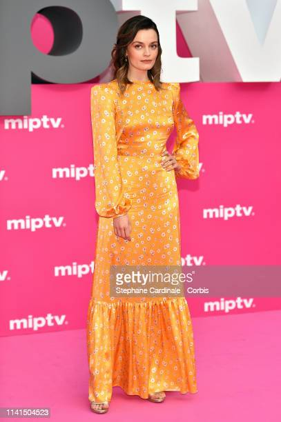 FrenchBritish actress Emma Mackey jury member of the Cannes Series poses on the pink carpet during the 2nd Canneseries International Series Festival...