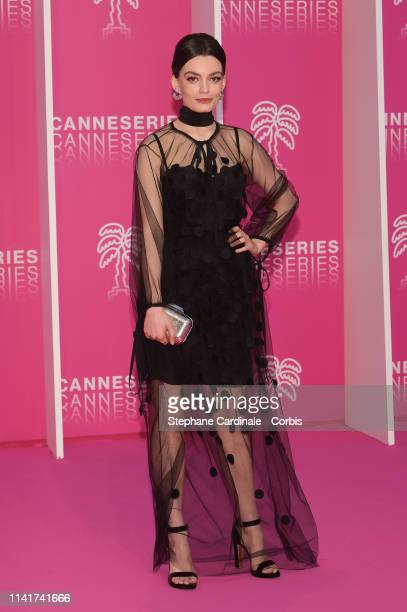 FrenchBritish actress Emma Mackey jury member of the Cannes Series poses on the pink carpet prior the closing ceremony of the 2nd Canneseries...