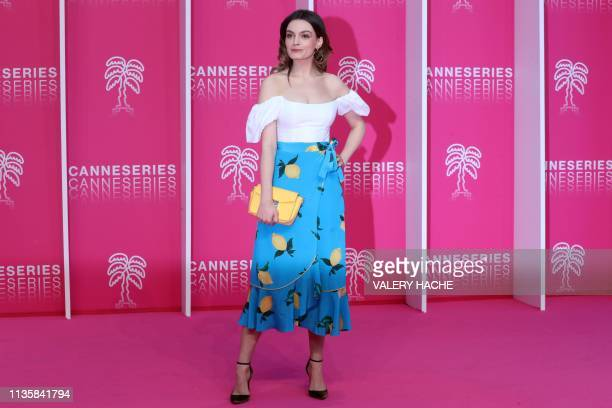 FrenchBritish actress Emma Mackey poses for a photo call during the 2019 Cannes International Series festival at the Palais des festival in Cannes on...