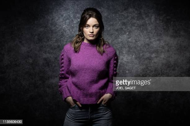 TOPSHOT FrenchBritish actress Emma Mackey poses for a photo session during the 2nd edition of the Cannes International Series Festival in Cannes...