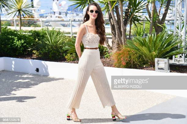 TOPSHOT FrenchCanadian actress and director Charlotte Le Bon arrives on May 15 2018 for a photocall for the 'Talents Adami 2018' at the 71st edition...