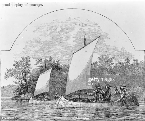1673 FrenchCanadian fur traders travelling in birchbark canoes explore the rivers of North America