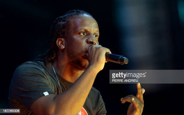 French-Congolese rap singer Youssoupha performs onstage during the Urban Peace 3 hip-hop concert on September 28, 2013 at the Stade de France in...