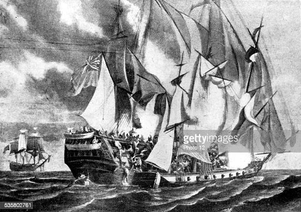 FrenchEnglish naval battle Capture of British ship 'Kent' by French ship 'La Confiance' October 5th After a drawing by Garneray
