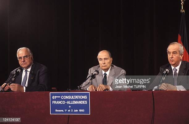 FrenchGerman Conference FMitterrand EBalladur HKohl in Beaune France on May 01 1993 Helmut Kohl Francois Mitterrand Edouard Balladur