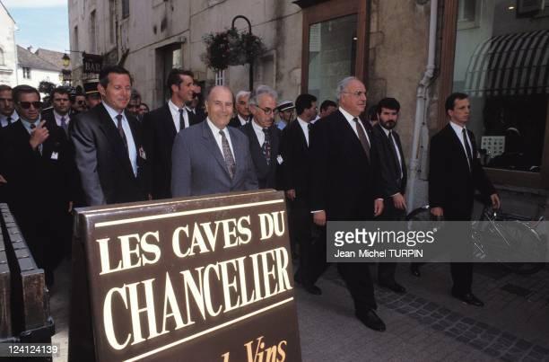 FrenchGerman Conference FMitterrand EBalladur HKohl in Beaune France on May 01 1993 Francois Mitterrand Helmut Kohl