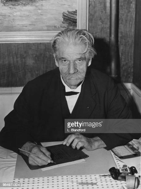 FrenchGerman physician and theologian Dr Albert Schweitzer dines out in a restaurant in Westminster London 18th October 1955 He is in the capital to...