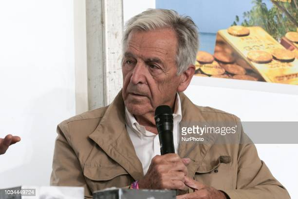 FrenchGreek director CostaGavras takes part in a debate during the Festival of Humanity a political event and music festival organised by the French...