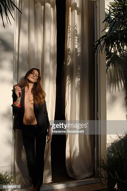 FrenchItalian singer songwriter and former model Carla Bruni at her home in Paris