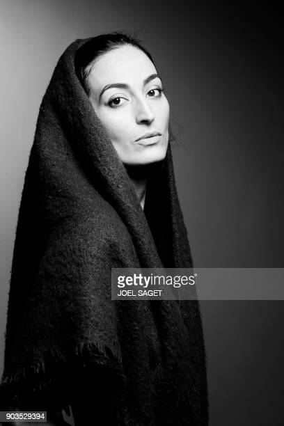 FrenchLebanese actress Laetitia Eido poses during a photo session in Paris on January 8 2018