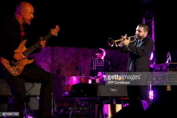 FrenchLebanese musician Ibrahim Maalouf performs on stage during the Baalbek International Festival in Lebanon's eastern Bekaa Valley on July 22 2017...