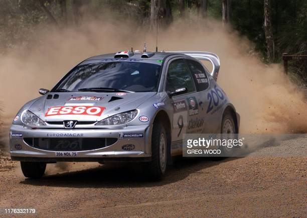 Frenchman Francois Delecour glides across the gravel during stage four of Rally Australia at Mundaring east of Perth 10 November 2000 Delecour is...