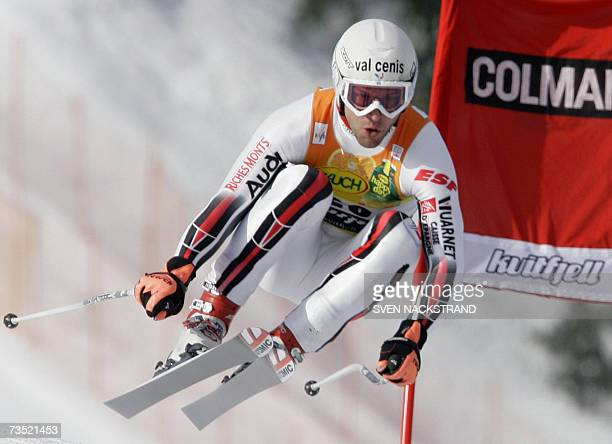 Frenchman Pierre-Emmanuel Dalcin jumps as he skies to get the 10th best time in the only Mens World Cup Downhill training day in Kvitfjell, Norway 08...