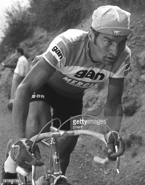 Frenchman Raymond Poulidor rides uphill on his way to winning the 16th stage of the Tour de France between Seo de Urgel and SaintLarySoulan 15 July...