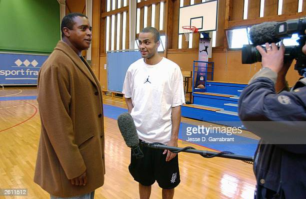 Frenchman Tony Parker of the San Antonio Spurs talks to Ahmad Rashad during the taping of a segment for NBA Inside Stuff with Ahmad Rashad on October...