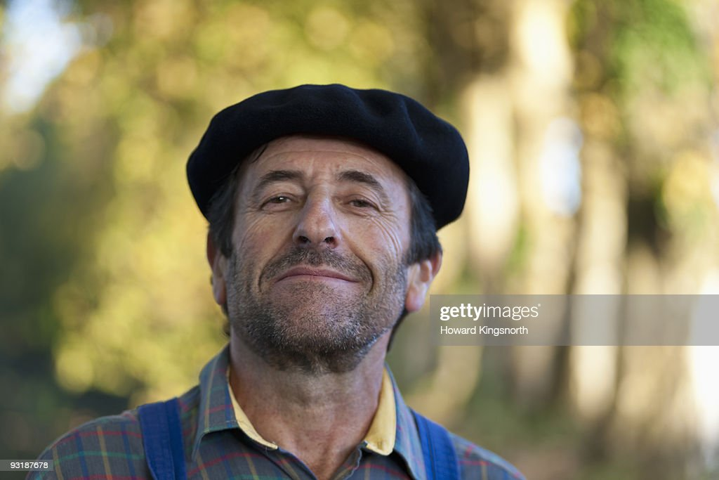 Frenchman wearing a beret. : Stock Photo