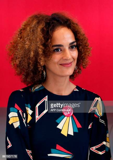 FrenchMoroccan writer Leila Slimani attends a dictation exercise of a text written by her during the 14h edition of the event organised by the...