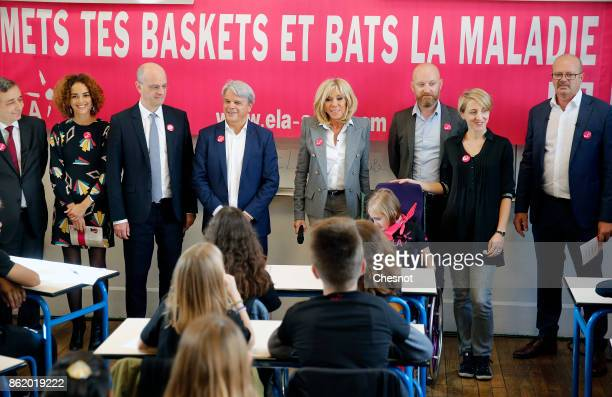 FrenchMoroccan writer Leila Slimani French Education Minister JeanMichel Blanquer founder and honorific president of ELA Guy Alba and Brigitte Macron...