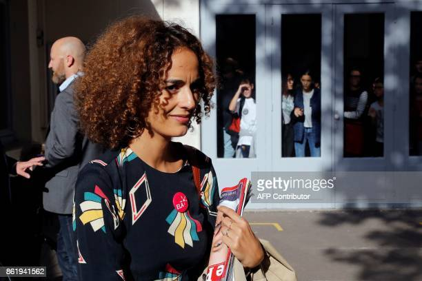 FrenchMoroccan writer Leila Slimani looks on as she attends a dictation exercise of a text written by her during the 14h edition of the event...