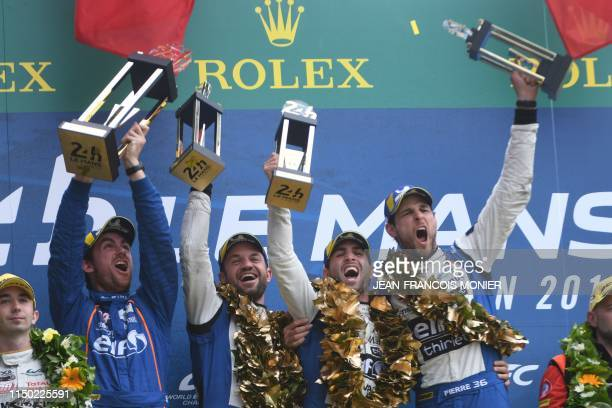 TOPSHOT French's driver Nicolas Lapierre Brazil's driver Andre Negaro French's driver Pierre Thiriet and French ingenior Thomas Tribotte celebrate on...