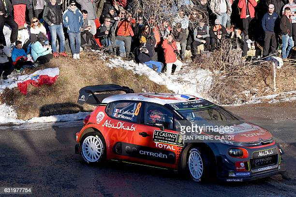 French's driver Stephane Lefebvre and his copilot Gabin Moreau steer their Citroen C3 on January 18 2017 in Gap southeastern France during the...