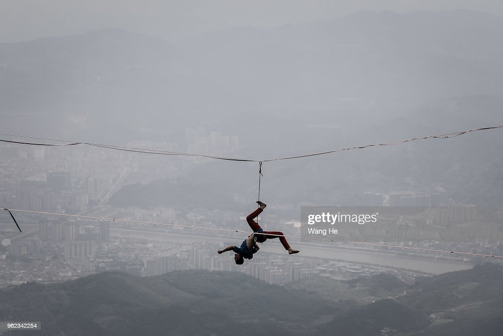 Music Performance On Slacklines In Tianmen Mountain
