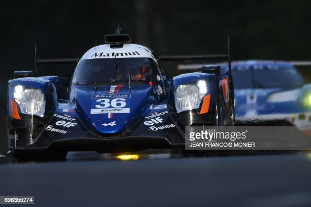 French's pilot Romain Dumas drives his Signatech Alpine A470-Gibson N°36 during the second qualifying practice session of the Le Mans 24 hours...