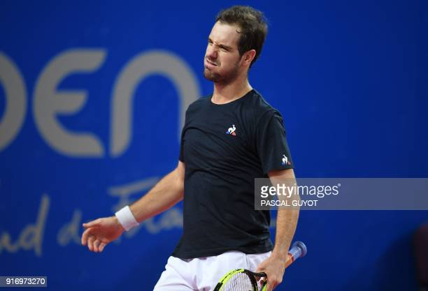 French's Richard Gasquet reacts after losing to France's Lucas Pouille in the final of the ATP World Tour Open Sud de France in Montpellier southern...