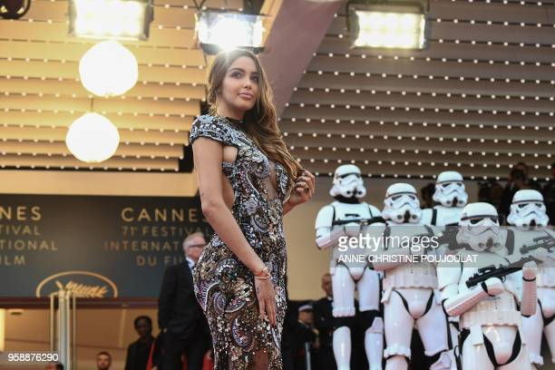 FrenchSwiss model Nabilla Benattia poses as she arrives on May 15 2018 for the screening of the film 'Solo A Star Wars Story' at the 71st edition of...