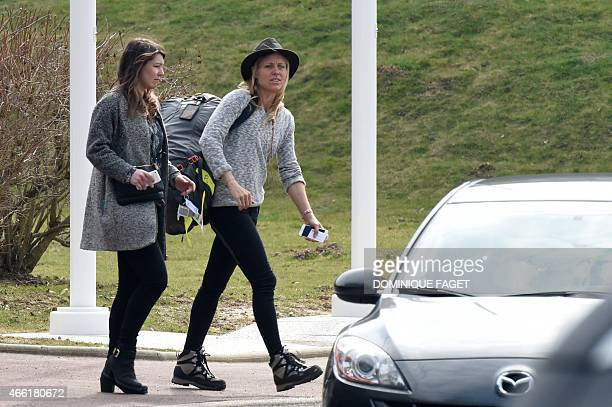 FrenchSwiss snowboarder AnneFlore Marxer leaves the Honours Pavilion at Paris RoissyCharlesdeGaulle airport after the arrival from Argentina of...